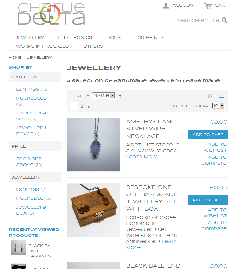 Screencapture of CharlieDelta.Perihelion.info's Jewellery Page